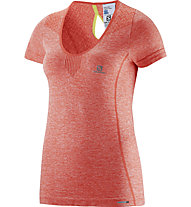 Salomon Elevate Seamless Runningshirt Damen, Coral Punch
