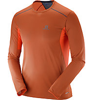 Salomon Trail Runner LS Tee M Herren Laufshirt Langarm, Orange/Blue