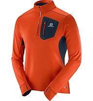 Salomon Trail Runner Warm Mid M Herren Laufshirt Langarm mit 1/4 Reißverschluss, Orange/Blue