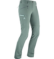 Salomon Wayfarer Straight Zip P - pantaloni zip-off trekking - donna, Green