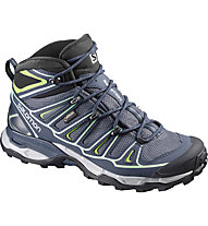 Salomon X Ultra Mid 2 GTX Wom Scarpe da trekking donna, Grey Denim/Deep Blue/Lucite Green