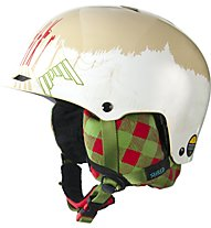 Shred Half Brain D-Lux Slopeside - Casco Snowboard, White/Beige/Green