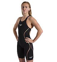 Speedo Fastskin LZR Pure Intent Openback Kneeskin Race - body triathlon - donna, Black/Yellow