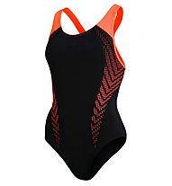 Speedo Fit Laneback Af - costume intero - donna, Black/Orange