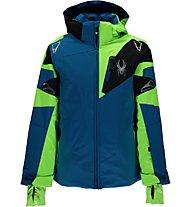 Spyder Boy's Leader Jacket Kinder Skijacke mit Kapuze, Cob/Brg/Blk