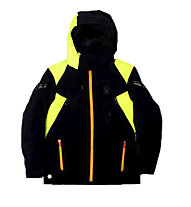 Spyder Boy's Speed Skijacke Kinder Skijacke mit Kapuze, Black/Bryte Yellow