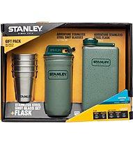 Stanley Adventure Steel Spirits Gift SET Taschenflasche + 4 Edelstahlbecher, Hammertone Green/Metal