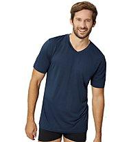 Super.Natural M Base V-Neck Tee 140 - T-Shirt - Herren, Dark Blue