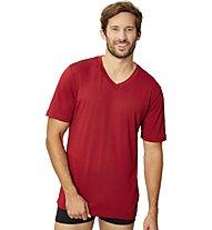 Super.Natural M Base V-Neck Tee 140 - T-Shirt - Herren, Dark Red