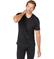 Super.Natural M Base V-Neck Tee 140 - maglietta tecnica - uomo, Dark Black