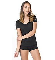 Super.Natural Base V-Neck 140 - maglietta tecnica - donna, Black