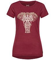 Super.Natural W Yoga Power Elephant - T-Shirt - Damen, Red