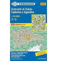 Tabacco Carta N.025 Dolomiti di Zoldo, Cadorine e Agordine - 1:25.000, 1:25.000