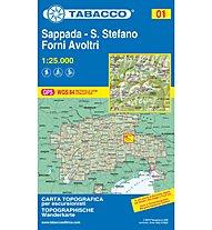 Tabacco Carta N.01 Sappada, Santo Stefano, Forni Avoltri - 1:25.000, 1:25.000
