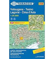 Tabacco Karte N. 058 Valsugana - Tesino - Lagorai - Cima d'Asta, 1:25.000