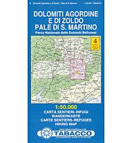 Tabacco N°4 Dolomiti Agordine e di Zoldo, Pale di S. Martino (1:50.000), 1:50.000