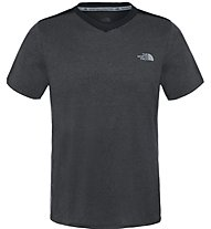 The North Face M Reactor S/S V-Neck T-Shirt fitness, Dark Grey