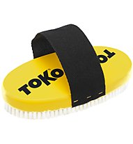 Toko Base Brush oval Nylon with Strap - spazzola per rimozione sciolina, Yellow/Black