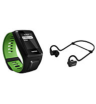 TomTom Runner 3 Cardio + Music + Bluetooth Headphones GPS-Uhr mit Kopfhörer, Black/Green