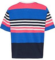 Tommy Jeans Tjw Bxy Crop Linear Logo Strip - T-Shirt - Damen, Blue/Pink