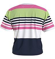 Tommy Jeans Tjw Bxy Crop Linear Logo Strip - T-Shirt - Damen, Blue/Pink/Green