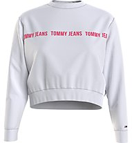 Tommy Jeans Tjw Regular Cropped Tape Crew - Pullover - Damen, White