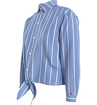 Tommy Jeans Tjw Relaxed Front Knot - Bluse - Damen, Blue/White