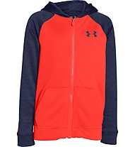 Under Armour Strom 1 Armour MagZip Fleece-Hoodie Jungen, Bolt Orange/Blue Knight