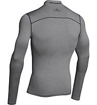 Under Armour UA Coldgear Armour Compression Mock - Kompressionsshirt Langarm, True Gray Heather/Black