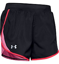 Under Armour Fly-By 2.0 - pantaloni corti running - donna, Black/Red/Pink