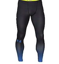 Under Armour HeatGear Leggings compressivi, Black/Blue Jet