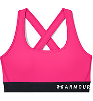 Under Armour Mid Crossback Bra - Sport-Bh - Damen, Pink/Black