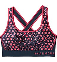 Under Armour Mid Crossback Print (Cup B) - Sport BH - Damen, Pink/Carbon