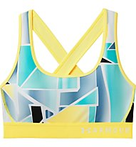 Under Armour Mid Crossback Print (Cup B) - Sport BH - Damen, Yellow/Blue