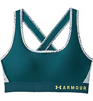 Under Armour Mid Crossback Print (Cup B) - Sport BH - Damen, Green