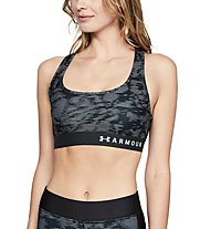 Under Armour Mid Crossback Print (Cup B) - Sport BH - Damen, Black/Grey