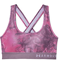 Under Armour Mid Crossback Print (Cup B) - Sport BH - Damen, Rose/Purple
