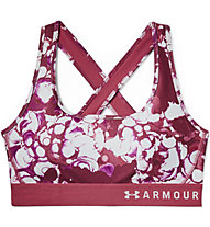 Under Armour Mid Crossback Print (Cup B) - Sport BH - Damen, Red/White/Pink