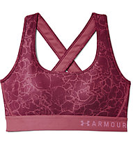Under Armour Mid Crossback Print (Cup B) - Sport BH - Damen, Dark Red