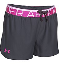 Under Armour girls play short, Lead/Rebel Pink