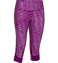 Under Armour UA Printed Fly-By Compression Capri Donna, Aubergine
