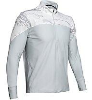 Under Armour Qualifier Camo - maglia running con zip - uomo, White