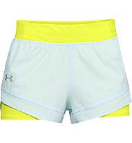 Under Armour Qualifier Speedpocket 2in1 - Laufshorts - Damen, Light Blue/Yellow