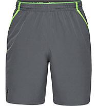 Under Armour Qualifier WG Perf - pantaloni corti fitness - uomo, Light Grey/Green