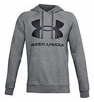 Under Armour Rival Fleece Big Logo Hoodie - felpa con cappuccio - uomo, Grey/Dark Blue