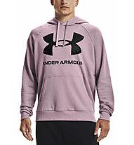 Under Armour Rival Fleece Big Logo Hoodie - felpa con cappuccio - uomo, Light Pink/Black