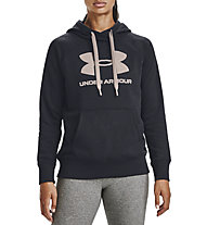 Under Armour Rival Fleece Logo Hoodie - Kapuzenpullover - Damen, Black/Pink