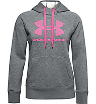 Under Armour Rival Fleece Logo Hoodie - Kapuzenpullover - Damen, Dark Grey/Pink