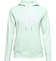 Under Armour Rival Fleece Logo Hoodie - Kapuzenpullover - Damen, Light Green/White