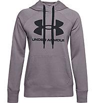 Under Armour Rival Fleece Logo Hoodie - felpa con cappuccio - donna, Violet/Black
